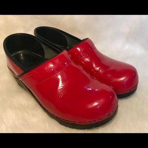 DANSKO red patent leather clogs
